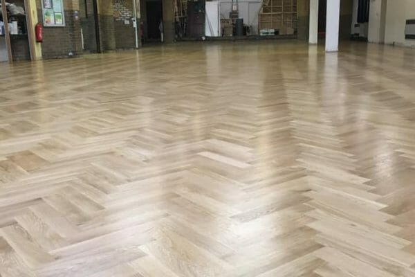 herringbone floor after restoration