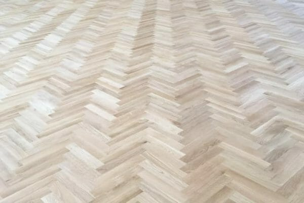 herringbone floor before restoration
