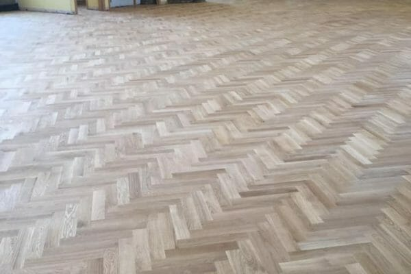 herringbone floor during restoration