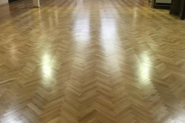 herringbone floor finished restoration